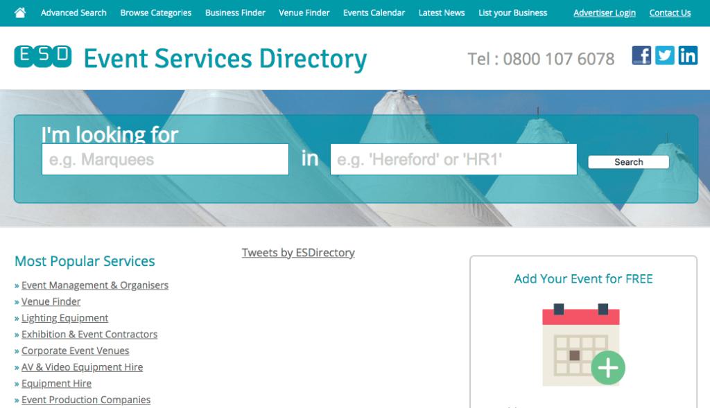 Kysymyksiä tapahtumasuunnittelijalle: Event Services Directory.